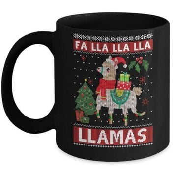 IKCKIJ3 Fa Lla Lla Llama Christmas Singing Cute Ugly Sweater Mug