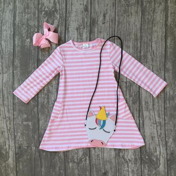 new arrivals spring baby girls cotton striped pink pocket long sleeve dress children clothes match with unicorn bag and bow kids