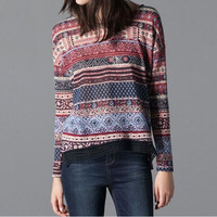 Vintage Printed Long Sleeves Crochet Detailed Hem Loose Top
