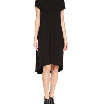 Cap-Sleeve Jersey High-Low Dress,