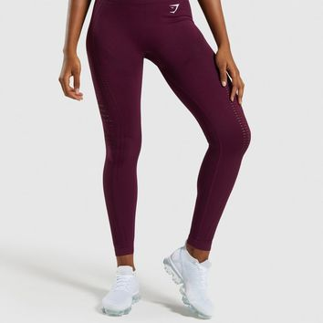 Gymshark Flawless Knit Tights - Ruby