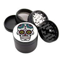 "White Big Eyes Sugar Skull Design - 2.25"" Premium Black Herb Grinder - Custom Designed"