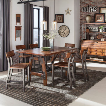 Home Elegance 1715-36 7 pc Holverson rustic brown finish wood trestle base counter height dining table set