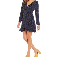 Lucy Paris Zoe Polka Dot Ruffle Wrap Dress | Dillards