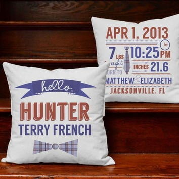 Custom Baby Boy Announcement Pillow Covers with or without Cushion Inserts - Customizeable Print Baby Announcement, Personalized Baby Decor