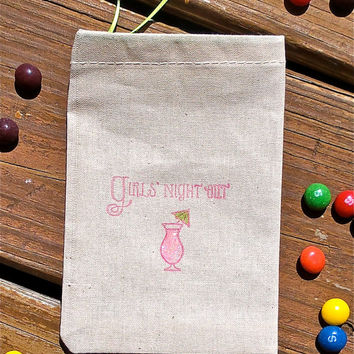 Girl's Night Out Hand Stamped Cotton Muslin 4x6 Favor Bag perfect for Bachlorette or Hen Parties. Hangover kits