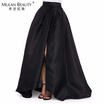 PEAPU3S 2017 New Black Satin High Split Skirts For Women To Formal Party Fashion Floor Length Skirt Invisible Zipper Custom Made