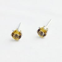 Tiny Citrine Stud Earrings, Gemstone Studs, Sterling Silver Studs, Citrine Posts, Petite Yellow Earring Studs, Yellow Posts