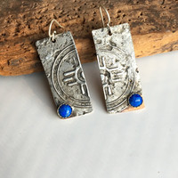 Etched Earrings, Mixed Metal Earrings, Tribal Earrings, Unique Earrings, Denim Lapis, Copper and Silver, One-of-a-Kind