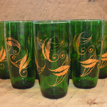 Green Glass with Gold Leaf Design, Vintage Green and Gold Tumblers, Gold Leaf Glasses, Green Glass Tumblers, Mid Century Modern Glass
