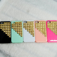 Golden studded iphone 4S case, Gold pyramid studs iPhone 4 case, Iphone 4 case, Iphone 4S case