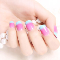 24 PCS Pink and Blue Nail Art