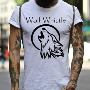 Wolf Whistle Tee, Wolf T-Shirt, Wolf Graphic Tee, Wolf Graphic Design, Hipster Graphic Tee, Made in the USA, Best T-Shirts