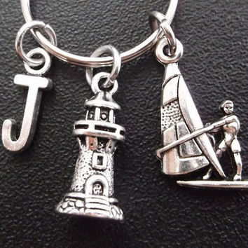 Sailboat, yacht and light house keyring, keychain, bag charm, purse charm, monogram personalized item No.305