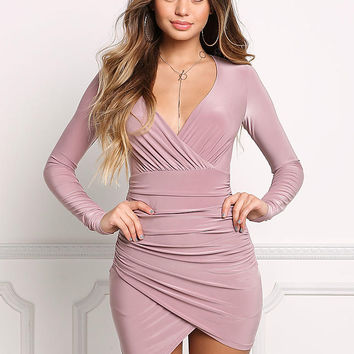 Mauve Faux Wrap Ruched Plunge Bodycon Dress