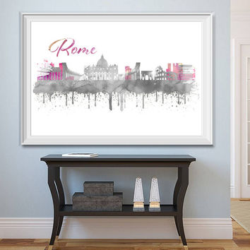 Rome City Skyline Watercolor -  Set of 5 Printables - Watercolor effect - Rome Skyline - Printable Rome Watercolor - Instant Download
