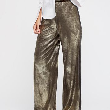 Free People Vegan Gold Track Pant