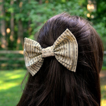 Tan cotton patterned hair bow
