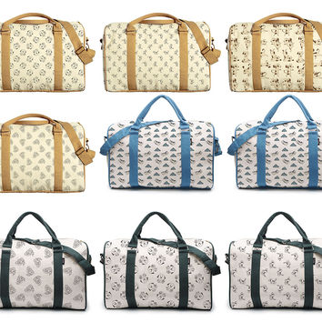 Funny Dog Doodle Patterns Printed Canvas Duffle Luggage Travel Bag WAS_42