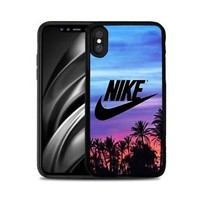 TOP!!!Nike.x0x Logo Palm Sunset Fit Hard Case For iPhone X 6 6s 7 8 Plus Cover +