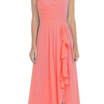 Starbox USA L6096 Knee-high Slit Waterfall Coral Beach Wedding Thin Strap Dress