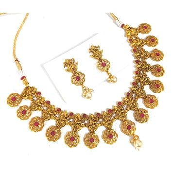 Lord Ganesha Antique Gold imitation Choker Necklace and Earring set