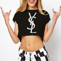 YSL Crop Top T Shirt Yves Saint Laaurent Clothing Color Black And White