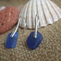 WATERDROPS...Scottish sea glass sterling silver elegant earrings with royal blue sea glass, sterling silver and scottish sea glass earrings