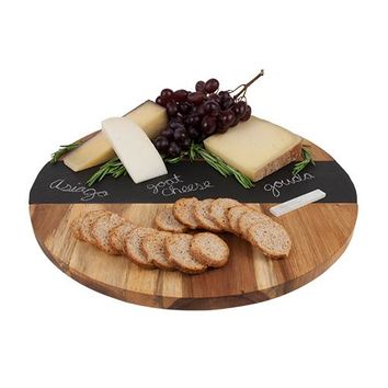 Rustic Farmhouse™ Acacia Wood and Slate Lazy Susan by Twine