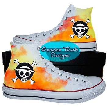Custom Converse, One Piece, One Piece shoes, Anime shoes, Custom chucks, painted shoes, personalized converse hi tops