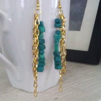 Bohemian Turquoise and Gold Chain Dangle Earrings