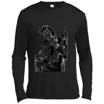 Elvis Presley rocking out and leaning  Long Sleeve Moisture Absorbing Shirt