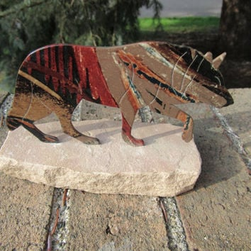 Native American Wolf Figurine / Tribal Home Decor / Vintage Southwest Collectibles / Western Accents / Wolf Animal Figurines
