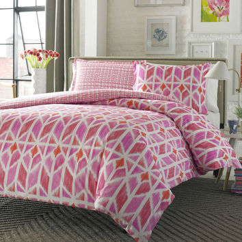Full / Queen 100% Cotton Reversible Comforter Set in Pink White Trellis Pattern
