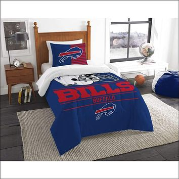 """Bills OFFICIAL National Football League, Bedding, """"""""Draft"""""""" Printed Twin Comforter (64""""""""x 86"""""""") & 1 Sham (24""""""""x 30"""""""") Set  by The Northwest Company"""