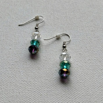 Translucent purple and teal handmade drop earrings.