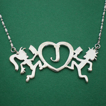 Hatchetman Love Hatchetgirl Juggalo and Juggalette In Love Heart Silver Charm Pendant Necklace Choker On Sale