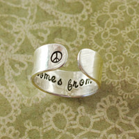 peace comes from within secret message ring, buddhaquote, peace sign, peace ring, yoga ring, yoga jewelry, inspirational christmas gift