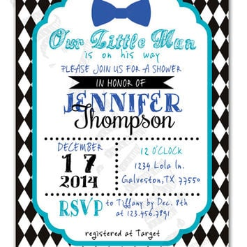 Blue Bow Tie and Turquoise with Black and White Diamond Background Printable Baby Girl Shower Invitation