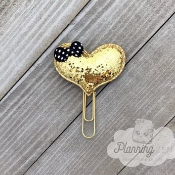 Gold Heart Planner Clip Puffy Glitter with Bow