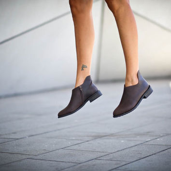 25% Christmas Sale, Isabella, Brown Ankle Boots, Brown Leather Boots, Women Winter Shoes, Dark Brown Booties, Flats