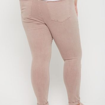 Plus Pink Distressed High Rise Jegging | Plus Pants | rue21