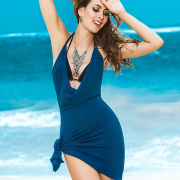 Blue Tie Side Beach Dress Resort & Swimwear