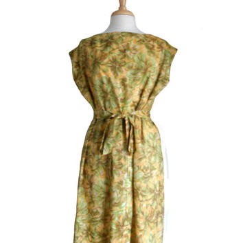 Vintage Summer Dress Handmade Flower Print Yellow Green and Brown Sheath with Cap Sleeves - Plus Size