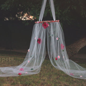 Woodland Floral Canopy with Matching Halo Set - newborn photography props, toddler photo props, fairy canopy prop, fairy house prop