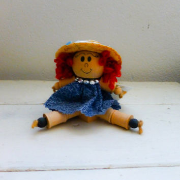 Wooden doll, spool doll, folk art, red head, blue dress, straw hat, shelf sitter, rustic decor, ready to ship, handmade, red hair, wooden