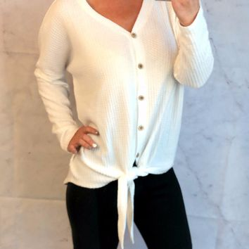 From Now On Waffle Tie Top: Ivory