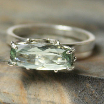Green Amethyst Solitaire, Argentium Silver Ring, Prasiolite Non Traditional Engagement Ring