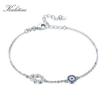 Kaletine 925 Sterling Silver Hamsa Hand Evil Eye Charm Bracelet Good Luck Blue CZ Chain Link Bracelets For Women Turkish Jewelry
