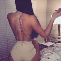 Sexy Women Bodysuit Solid Overalls Summer 2017 Bodycon backless Jumpsuit romper Backless sequin chain Woman Playsuit